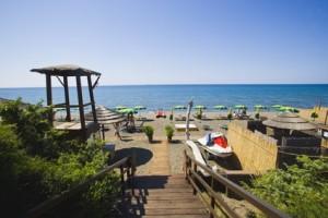 Tourist resort on Frigidaire beach, Capalbio, Tuscany, Italy